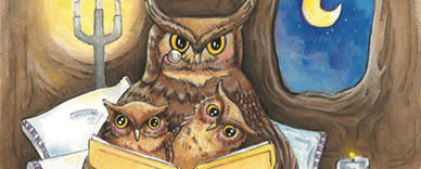 A Parent owl reading to their two children
